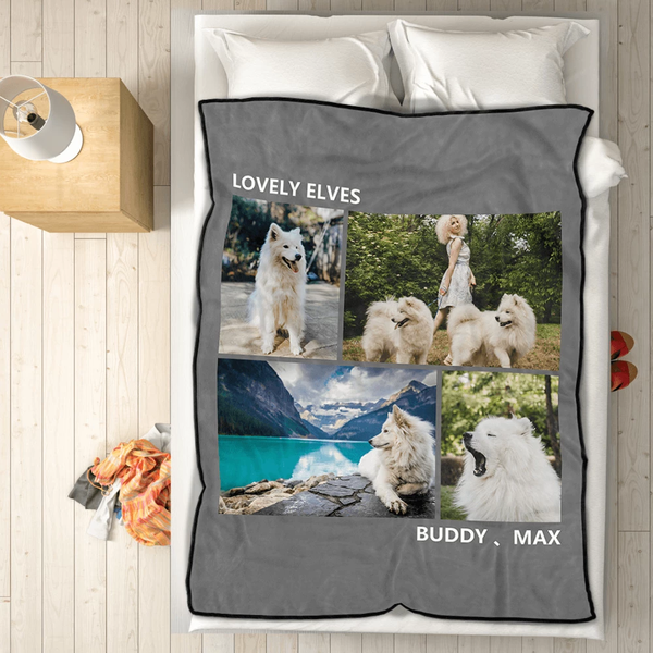 pets personalized with 4 photos fleece custom blanket