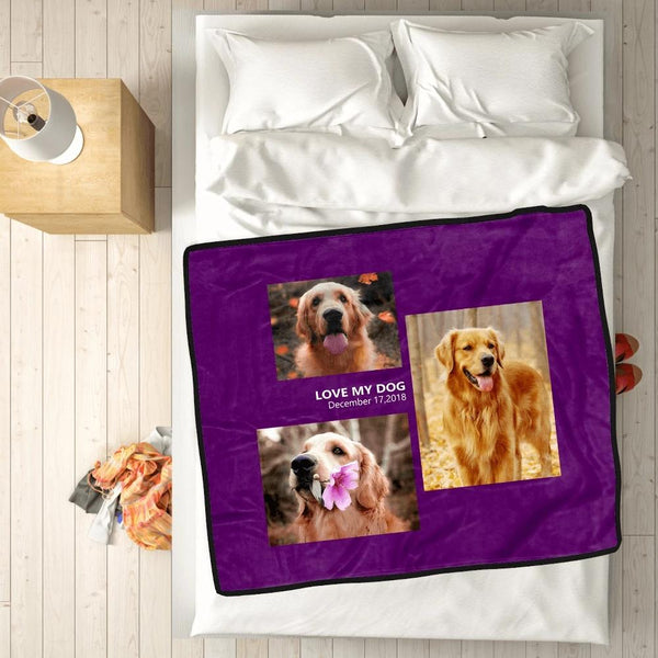 Custom Photo Blanket Pets Fleece  with 3 Photos