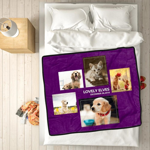 Personalized Pets with 5 Photos Fleece Custom Blanket