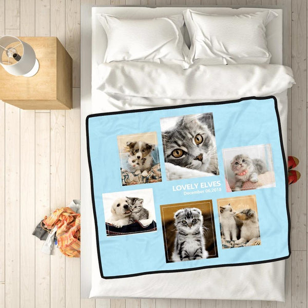 Personalized Pets with 6 Photos Fleece Custom Blanket