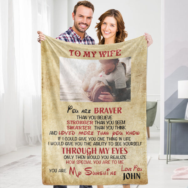 Personalized To My Wife Blanket Valentine's Blanket Fleece Blanket