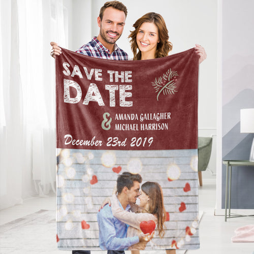 Personalized Custom Save My Date Valentine's Blanket Fleece Blanket