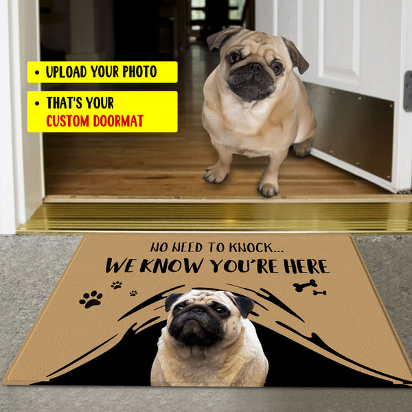 Custom Funny Doormat-No Need To Knock With Your Pet's Photo