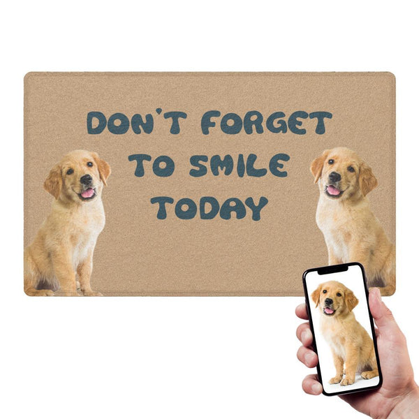 Custom Funny Doormat-Smile With Your Pet's Two Photo