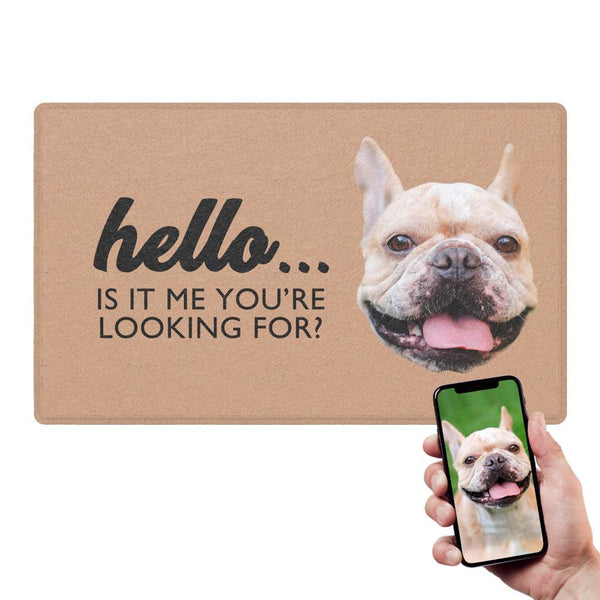 Custom Hello Doormat With Your Pet's Photo