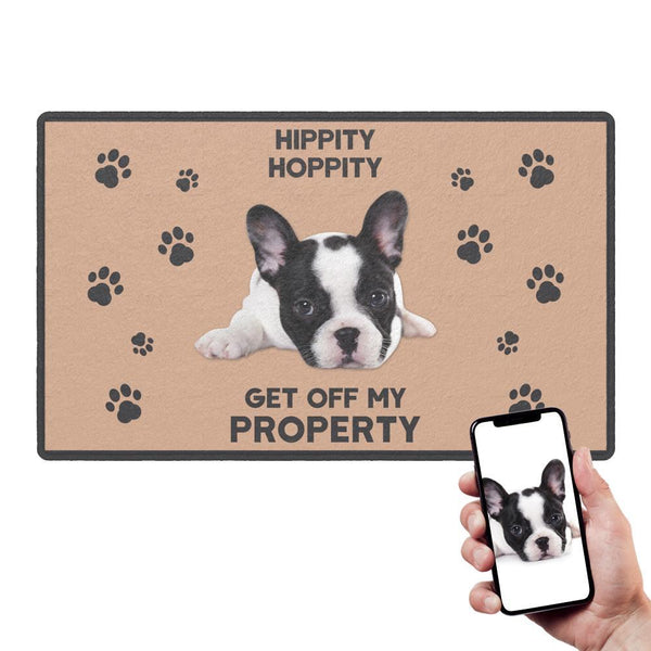 Custom Funny Doormat-HIPPITY HOPPITY With Your Pet's Photo