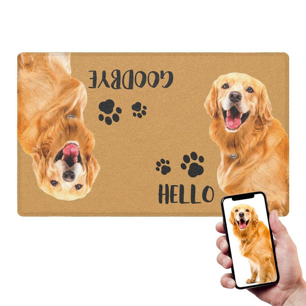 Custom Hello Goodbye Doormat With Your Pet's Photo