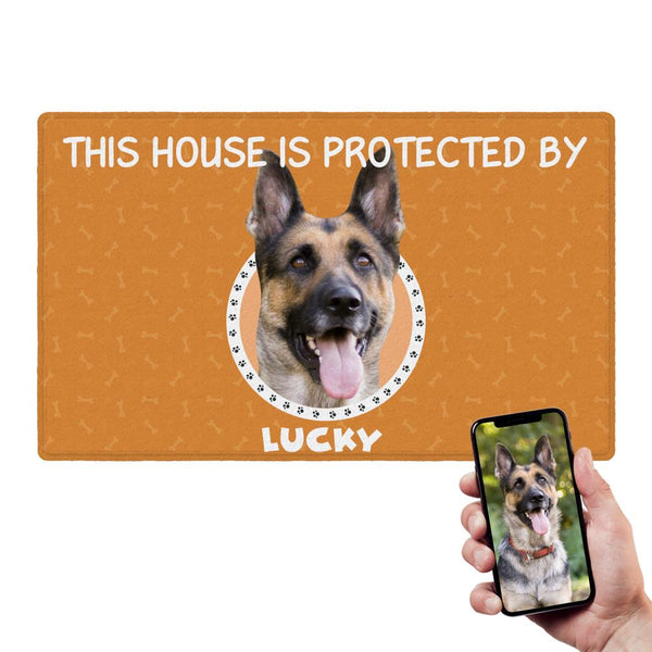 Custom Funny Doormat Personalized Doormat This House Is Protected By Pets