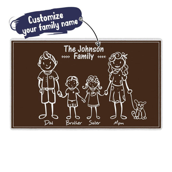 Custom Family Name Doormat-lovely Family of 5 Brown Doormat