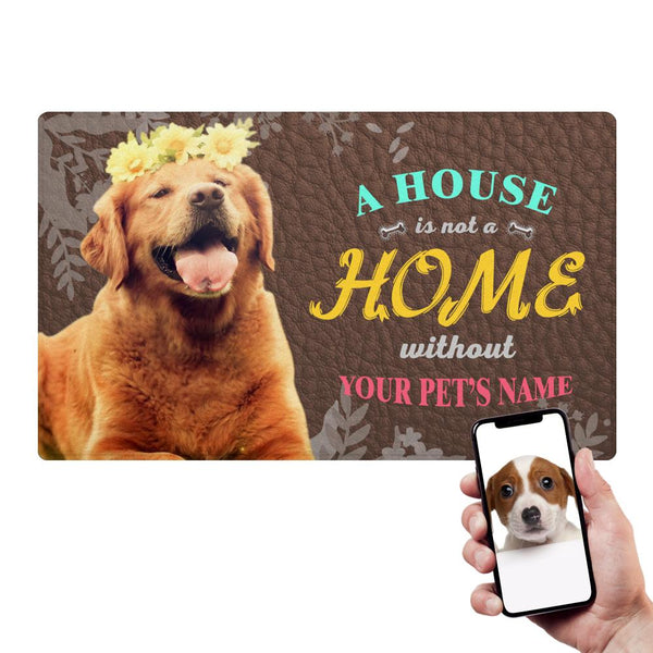 Custom Home Doormat With Your Pet's Photo And Name