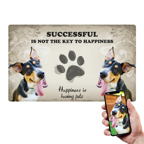 Custom Funny Pet Doormat Happiness Pet Mat With Your Pet's Photo
