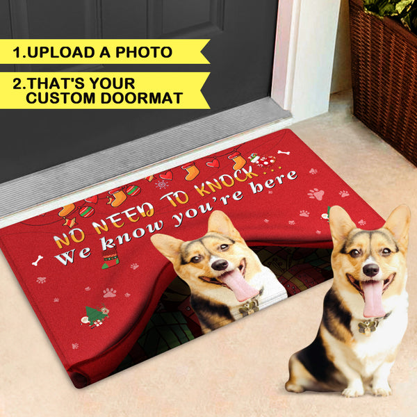 Custom Pet Funny Christmas Doormat-No Need To Knock With Your Pet's Photo