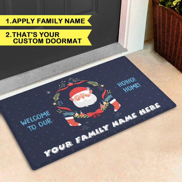 Custom Christmas Family Doormat-Personalized Door Mat