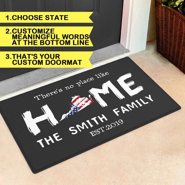 Custom State Of Love Doormat-Personalized State Map And Text Door Mat