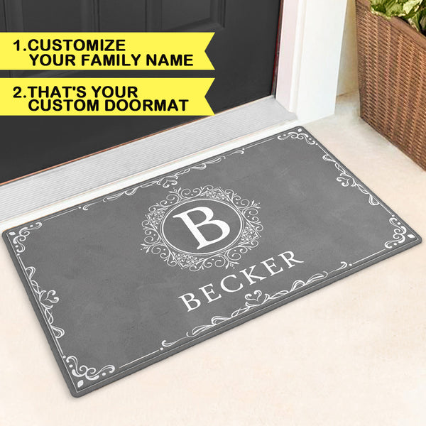 Custom Monogram Doormat Funny Door Mat-Circle & Vine