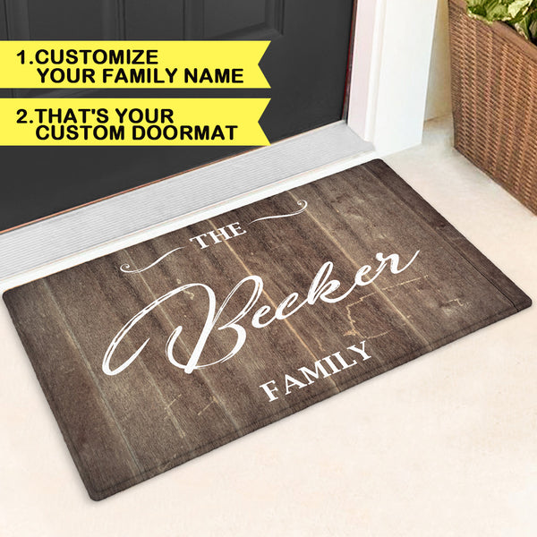 Custom Unique Hand Scripted Door Mat| Personalized Family Name Doormat