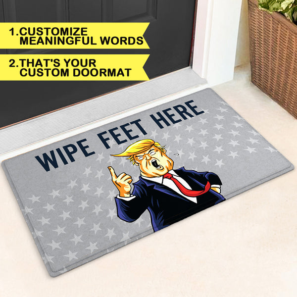 Custom Dump Trump Novelty Doormat Funny Text Trump Tread on Me Doormat