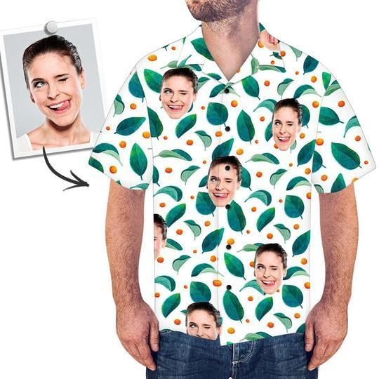 Custom Face Shirt Men's Hawaiian Shirt Leaves and Dot