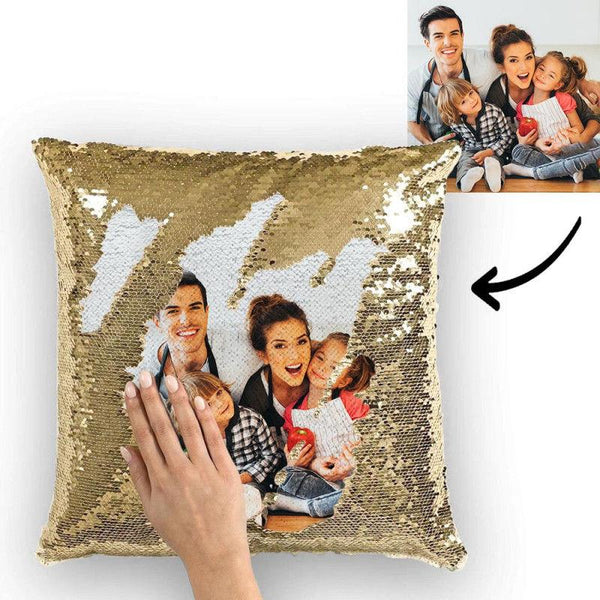 Photo Magic Sequins Pillowcase Golden Color Sequin Cushion Best Gifts 15.75inch * 15.75inch