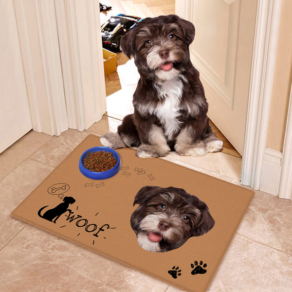 Custom Funny Dog Food Doormat With Your Pet Photo