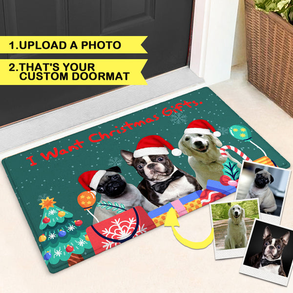 Customize Funny Door Mat Christmas Doormat With Your Pet's Photo Doormat