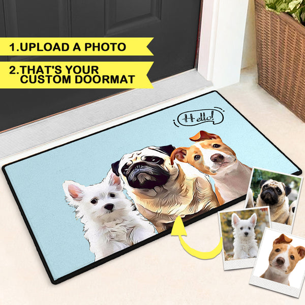 Custom Painted Art Portrait Colorful Doormat With Your Pet's Photo Indoor & Outdoor Door Mat