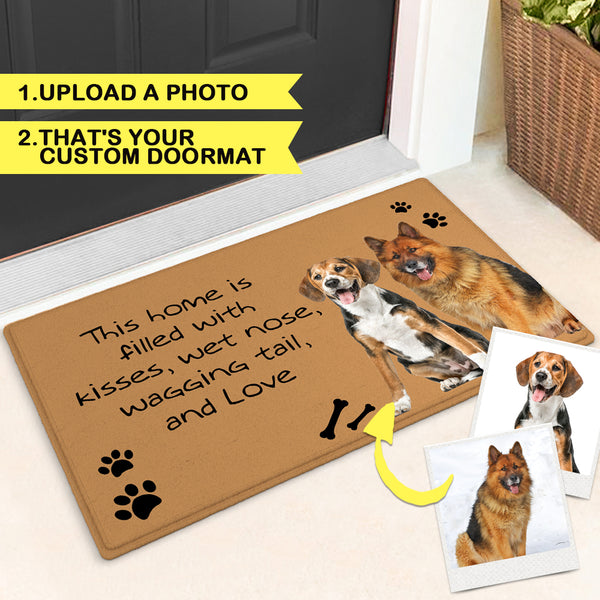 Custom Funny Door Mat Pet Doormat Your Pet's Photo-This home is filled with kisses