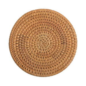Rattan Placemats Straw Cup Coasters Dining Table Mat Heat Insulation Pot Holder Wicker Drink Coaster Kitchen Accessories(10 cm)