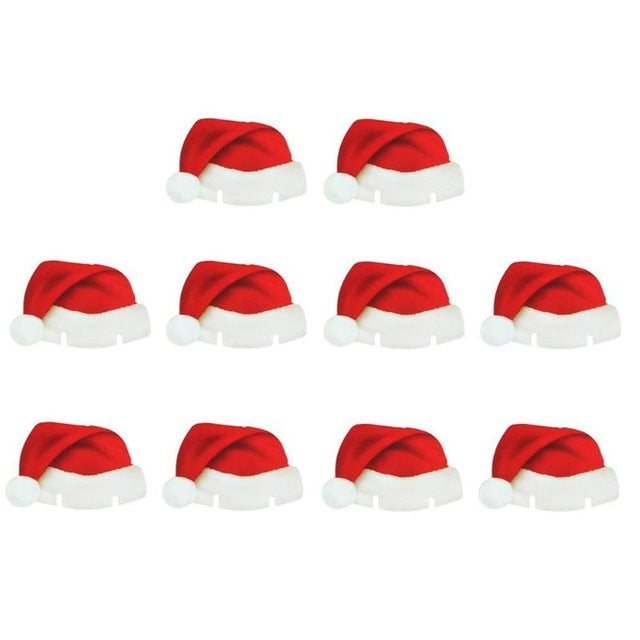 10PCS/Pack Christmas Decoration For Table Cup Cute Santa Claus Card Ornament Xmas Party Supplies Wine Glass Santa Hat Decoration