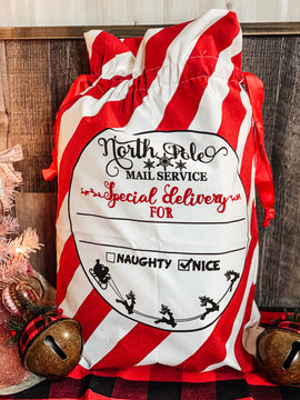 North Pole special delivery Santa sack