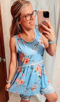 Blue floral cinched tank top