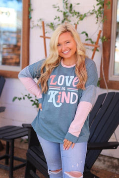 Love is kind waffle sweater top