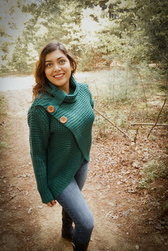 Green knit wrap cowl sweater