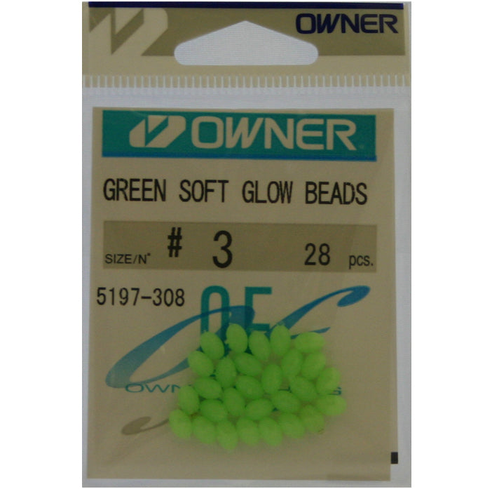 "Owner Soft ""Glow"" Beads Green Beads Size 3"