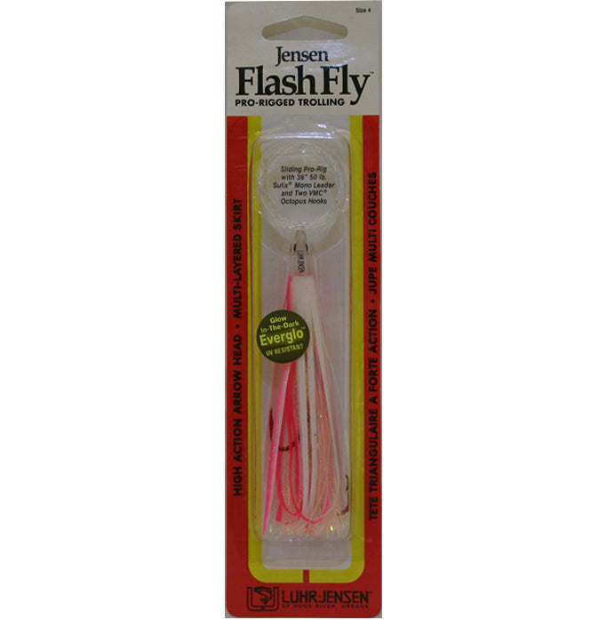 Wally Whale Salmon Fly ZSFG10G - Glow Head Light Green/White Buctail Wing, Glow Body with Red Bead