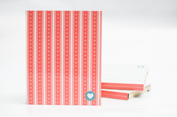 J0004 coral hearts lined