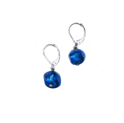 Hazel & Marie: Cultured Pearl earrings on sterling silver in blue