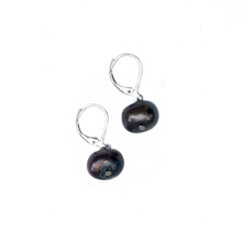 Load image into Gallery viewer, Hazel & Marie: Cultured Pearl earrings on sterling silver in black