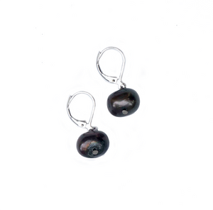 Hazel & Marie: Cultured Pearl earrings on sterling silver in black