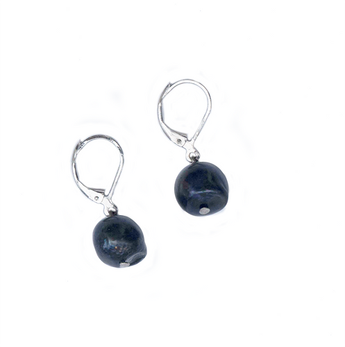 Hazel & Marie: Cultured Pearl earrings on sterling silver in navy blue