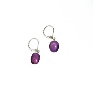 Hazel & Marie: Cultured Pearl earrings on sterling silver in purple, lavender