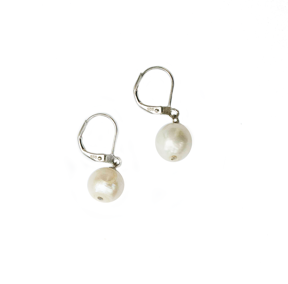 Hazel & Marie: Cultured Pearl earrings on sterling silver in natural white