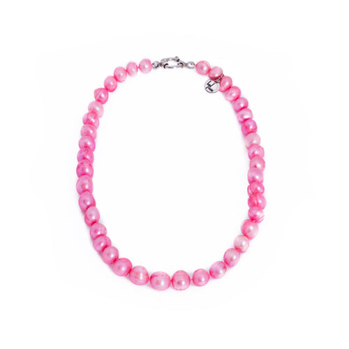 Pearls, pearl necklace, Pink, Hot pink, preppy pearls, bridesmaid gifts, bat mitzvah, J crew, Mikimoto, natural pearls, dyed pearls, colored pearls