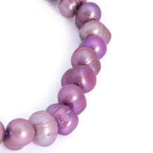 Load image into Gallery viewer, Hazel & Marie: Cultured Pearl bracelet large lavender, purple pearls shape