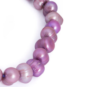 Hazel & Marie: Cultured Pearl bracelet large lavender, purple pearls shape