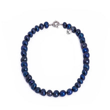 Load image into Gallery viewer, Pearls, pearl necklace, navy blue, dark blue, preppy pearls, bridesmaid gifts, bat mitzvah, J Crew, Mikimoto, natural pearls, dyed pearls, colored pearls