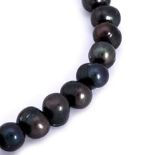 Load image into Gallery viewer, Hazel & Marie: Cultured Pearl bracelet large black pearls with round shape