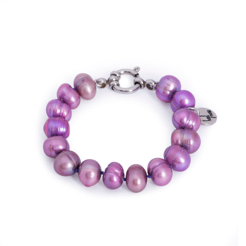 Hazel & Marie: Cultured Pearl bracelet large lavender, purple pearls