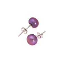 Load image into Gallery viewer, Pearl studs, pearl earrings, natural, purple, lavender, blue pearls, bridesmaid gifts, bat mitzvah, J Crew, Mikimoto, natural pearls, dyed pearls, colored pearls
