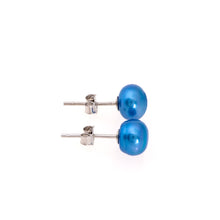 Load image into Gallery viewer, Pearl studs, pearl earrings, natural, blue, royal, teal, blue pearls, bridesmaid gifts, bat mitzvah, J Crew, Mikimoto, natural pearls, dyed pearls, colored pearls